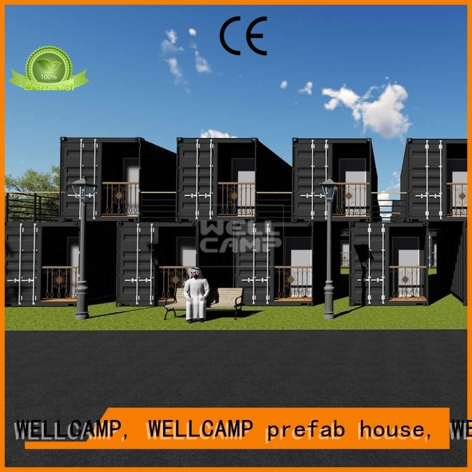 Aluminum sliding PVC tile FC board modern shipping container house Fire proof door WELLCAMP, WELLCAMP prefab house, WELLCAMP container house