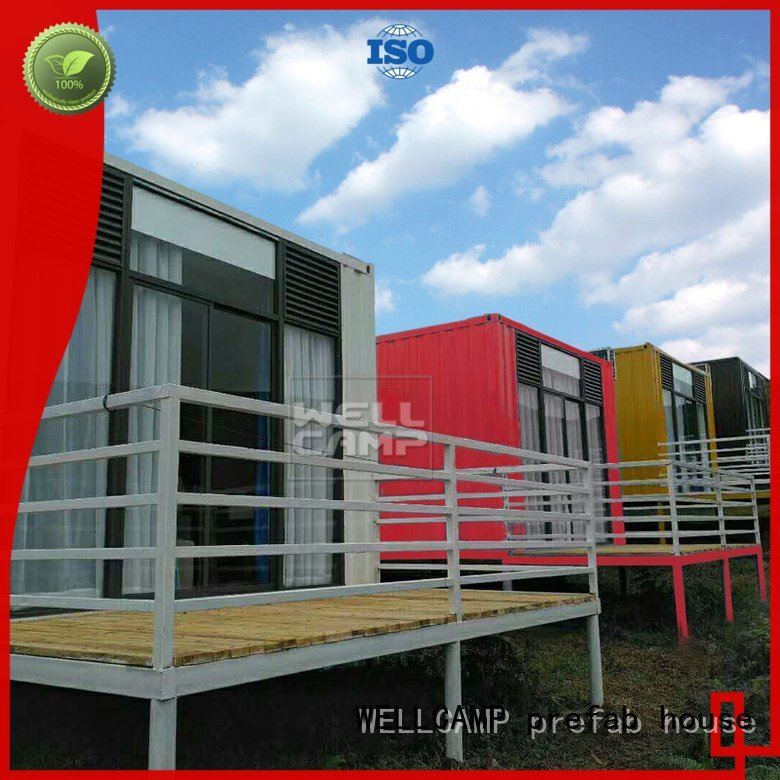 PVC tile Fire proof door Aluminum sliding shipping container house for villa resort FC board