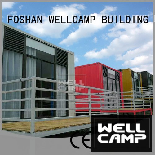 WELLCAMP, WELLCAMP prefab house, WELLCAMP container house Brand PVC tile FC board Fire proof door modern shipping container hous